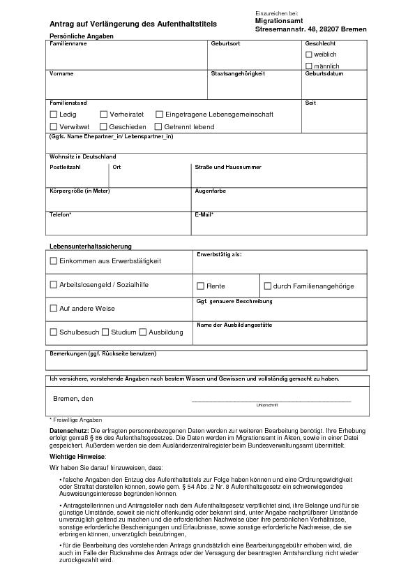 Form thông tin gia hạn visa Đức