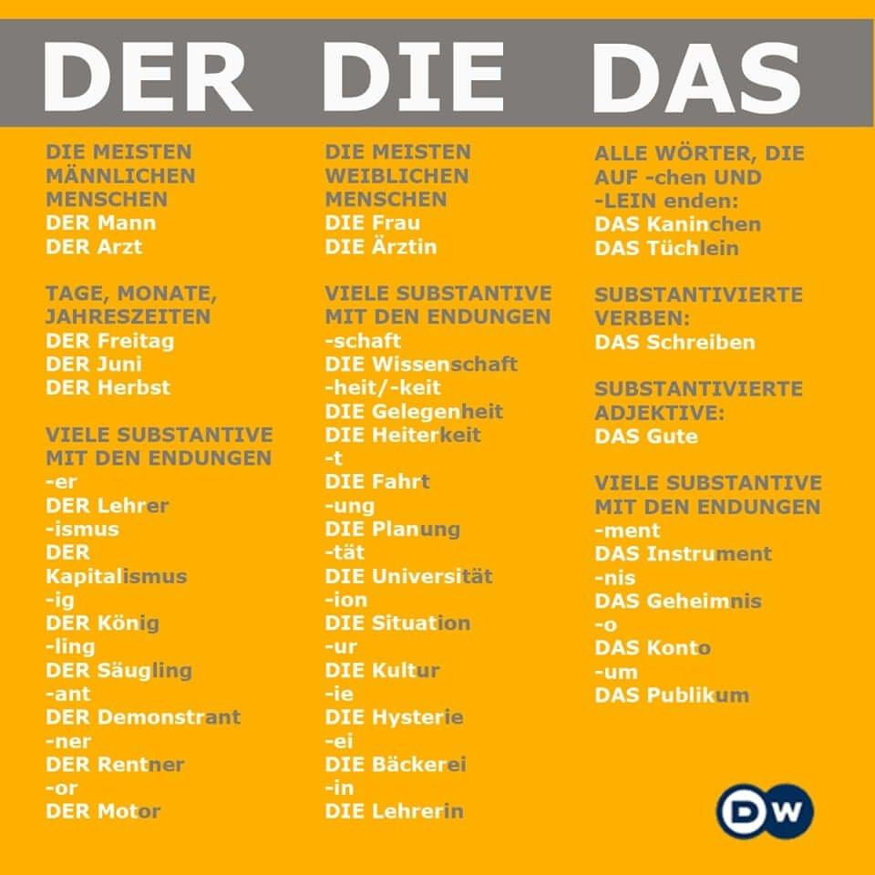 der die das trong tiếng Đức
