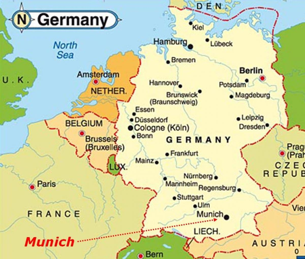 Munich map europe - Map of munich europe (Bavaria - Germany)
